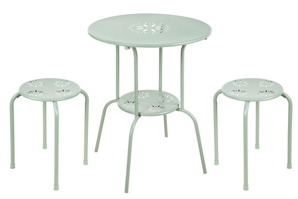Tisch Set 2 Hocker Blume Casablanca Gartentisch Grün Gartenstuhl Garten Stuhl