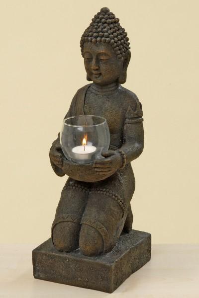 Buddha mit Windlicht 44cm Höhe Mönch Braun Buddhafigur Teelicht