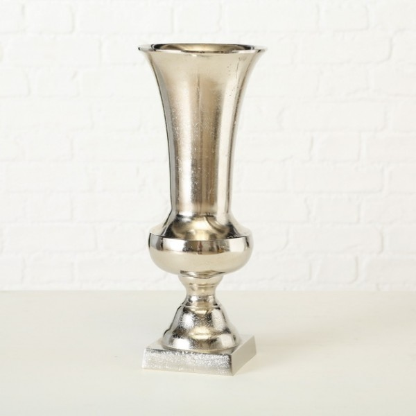 Edle Vase Flavio 44cm Aluminium Amphore Silber Tischvase Alu Dekovase