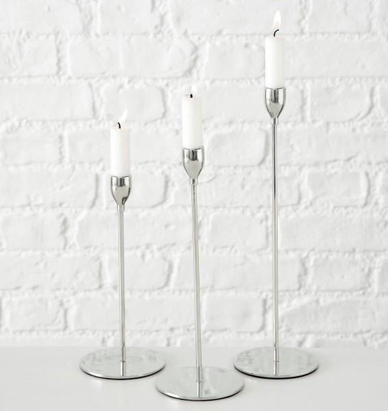 3er Set Kerzenleuchter Malte 23 bis 33cm Silber Kerzenständer Tischleuchter