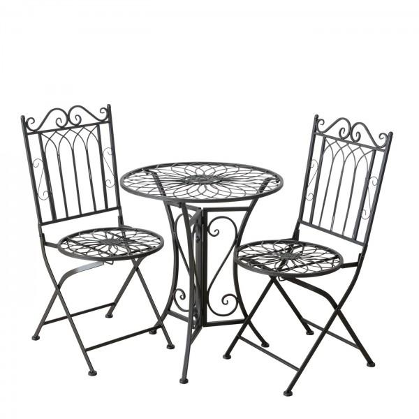 Tisch Set 2 Stühle Mirja Gartentisch Braun Gartenstuhl Garten Stuhl Eisen
