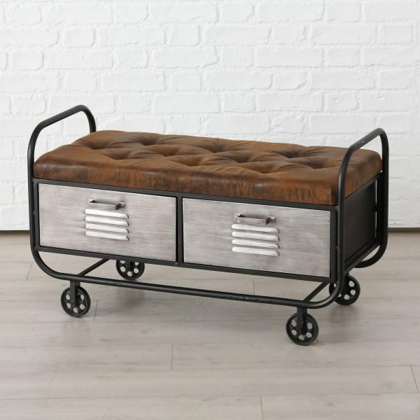 Geniale Bank Zweisitzer Sitzbank Harper Waggon Sofa Kommode Braun Silber Metall