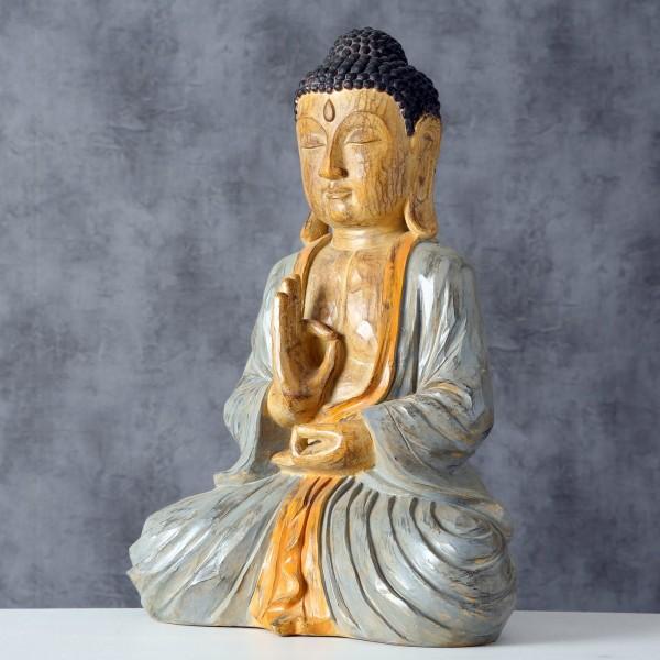 Edler Buddha 50cm in Grau Orange Braun Figur Modell Mönch Statue