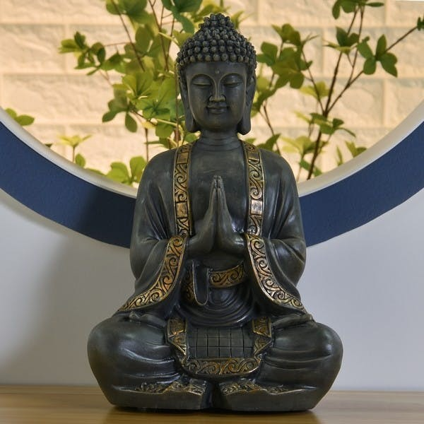 Buddha Grau Gold 40cm Antik Figur Modell Mönch Buddhafigur Statue