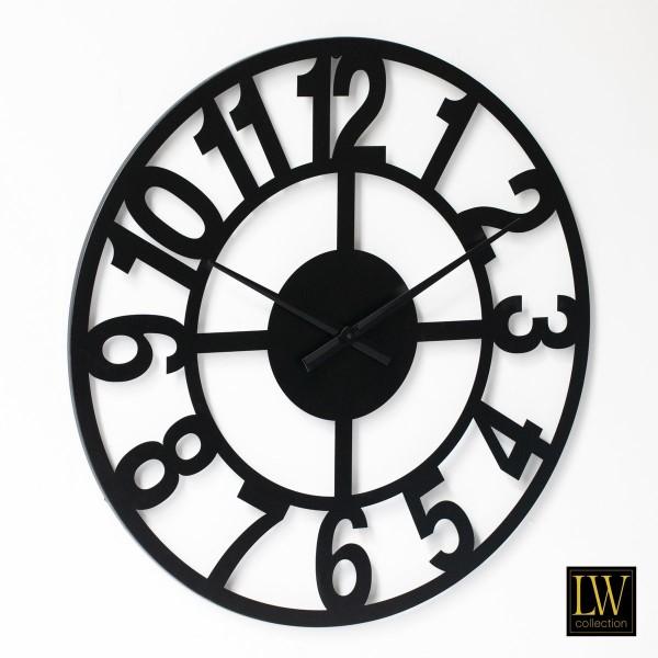 XL Wanduhr 80cm Big Schwarz Metall Rom Uhr Wand Italien
