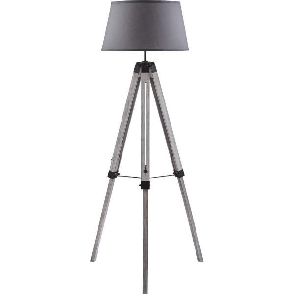 Stativlampe Tripod Schirm Grau Holz Stativ Stehlampe Lampe Teleskop Teleskoplampe