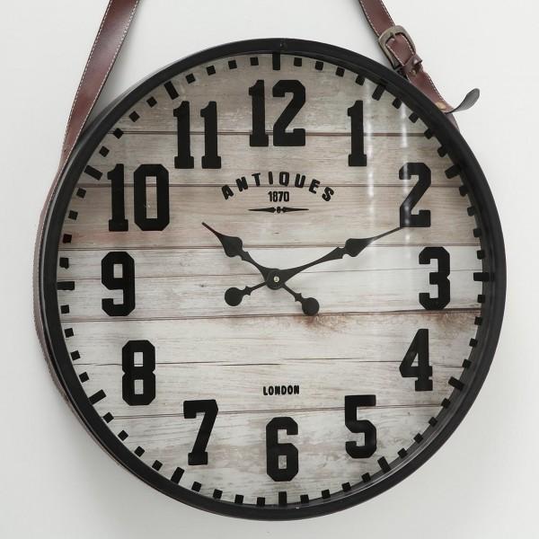 Wanduhr Lu D59cm Rustikal Eisen Metall Schwarz Leder Uhr