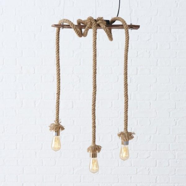 Edle Hängelampe 3er Seil mit Leuchtmittel LED Lampe Deckenlampe Tau