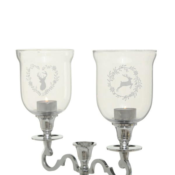 2x XXL Teelichthalter Hirsch 15cm Kerzenleuchter Glas Windlichtaufsatz Teelichtaufsatz