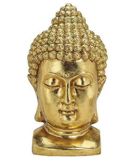 Edler Buddhakopf Gold 47x27cm Figur Modell Mönch Statue Buddha Kopf
