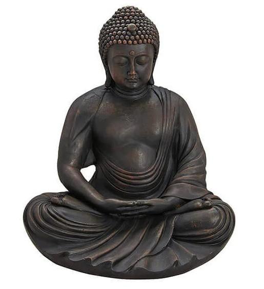 Buddha Modell 60cm Braun Grau Figur Mönch Statue Buddhafigur