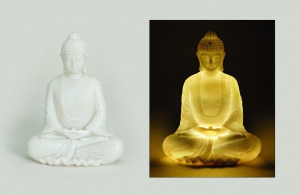 Genialer Buddha 22cm mit Beleuchtung Buddhakopf LED Lampe Licht Modell