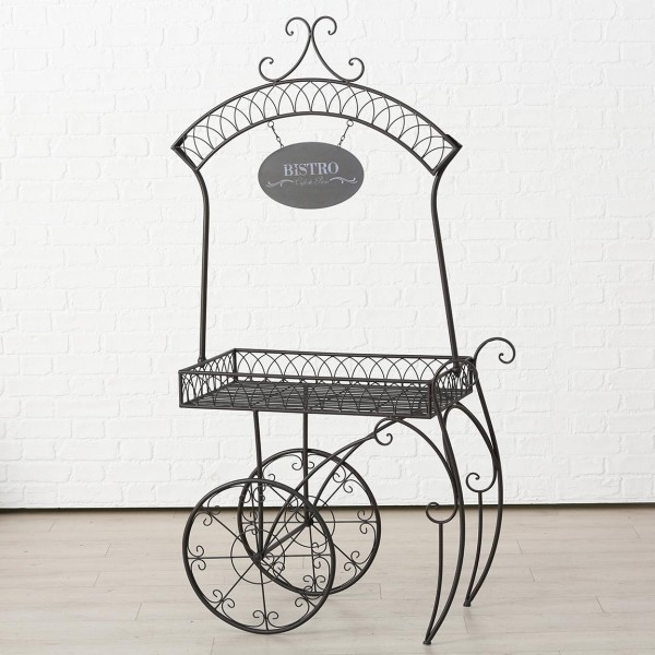 Tisch Teewagen Beistelltisch Bistro Metall Schwarz Paris 164x44x82 cm