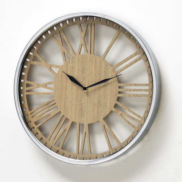 Außergewöhnliche Wanduhr Callisto D40cm Natur Holzmaserung Silbern Rahmen Uhr