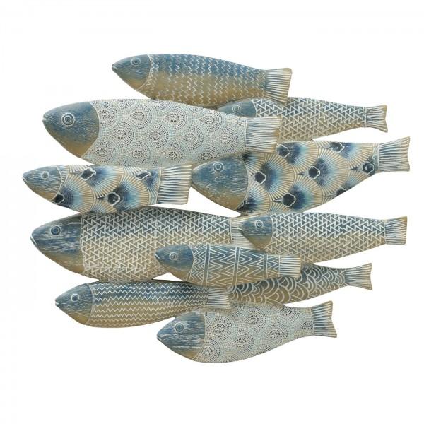 Wandbild Fischschwarm Eisen Blau Weiß 40cm Fische Bild Fisch
