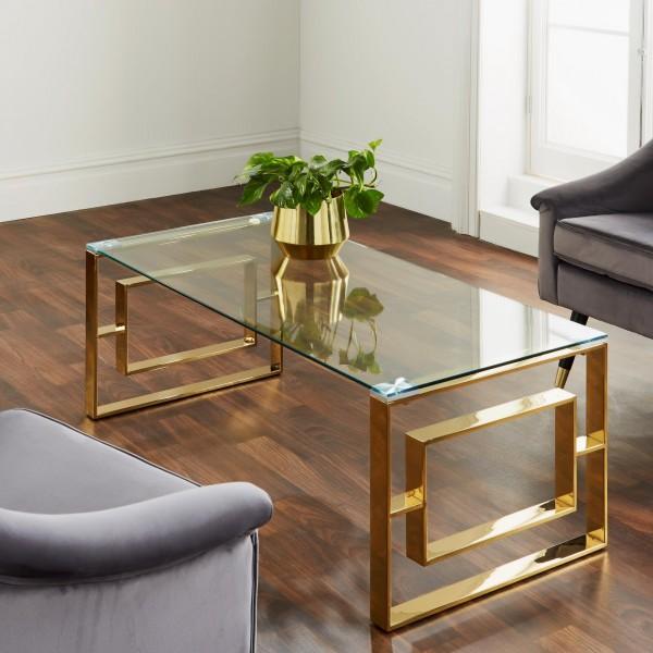 Couchtisch Gold Glas 120cm Ellie Metall Tisch Beistelltisch