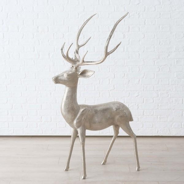 Hirsch Reh Rentier Figur Modell Skulptur Aluminium H147cm Silber Neu Deko Tier