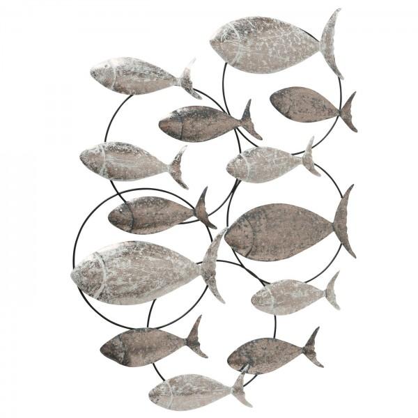 XL Wandbild Fischschwarm Eisen Antik Grau 105 x 68 cm Fische Bild Fisch