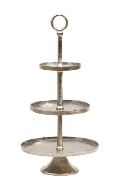Edle Etagere 80cm 3-stöckig Hammerschlag rau vernickelt Silber Gebäckschale