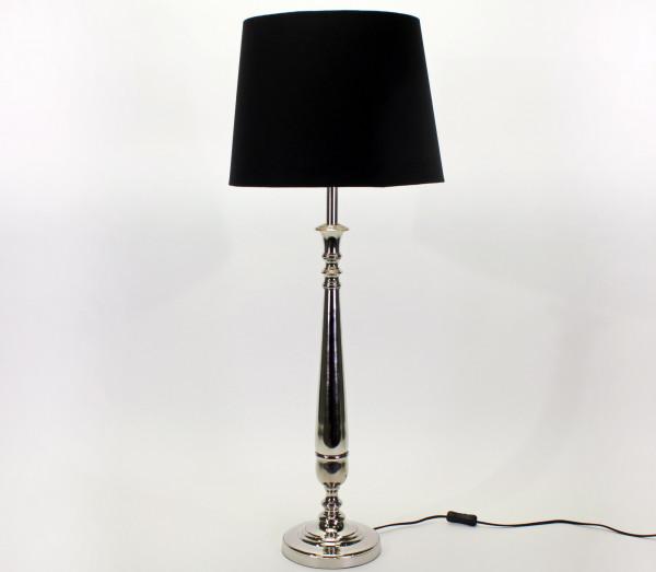 Tischlampe Silber Kensington 71cm Schirm Schwarz Tischleuchte Stehleuchte