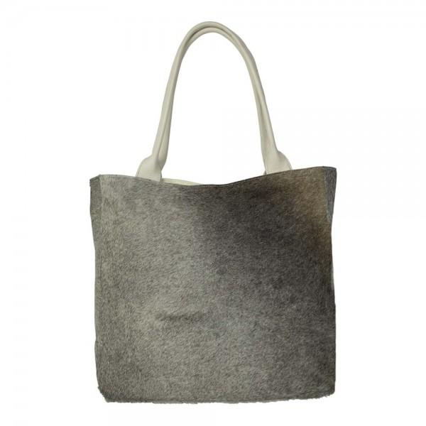 Edler Shopper Grau Kuhfell 40cm Tasche Leder Handtasche Schultertasche Ledertasche