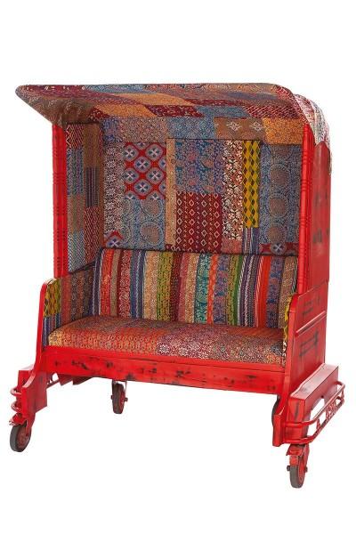 Sessel Tuk Tuk Zweisitzer Casablanca Rot Autorikscha Sofa Stuhl Bank Gartenbank