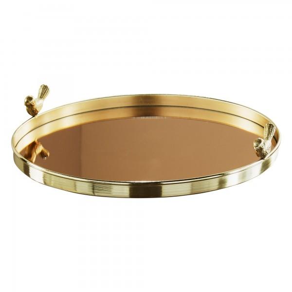 Serviertablett Gold poliert Vogel Spiegel Glas Tablett Metall