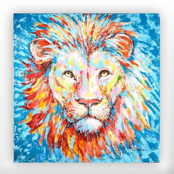 XL Casablanca Wandbild Lion hochglänzend 90cm Bild Löwe Blau Rot Orange Holzrahmen