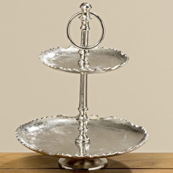 Edle Etagere 29cm Höhe 2-stöckig vernickelt Silber Gebäckschale Metall