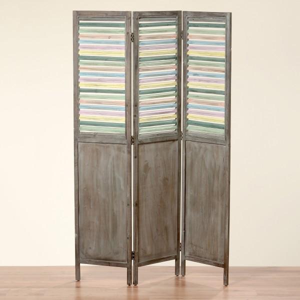 Paravent aus Holz in Braun mit bunten Lamellen 180x120cm