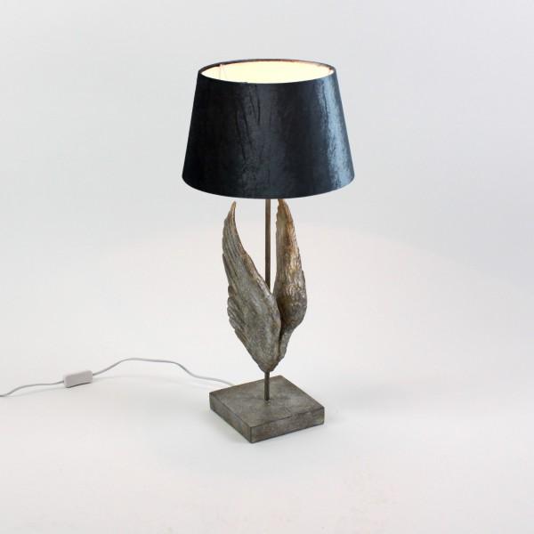 Geniale Tischlampe Engelsflügel Silber 67cm Flügel Engel Lampe Tischleuchte