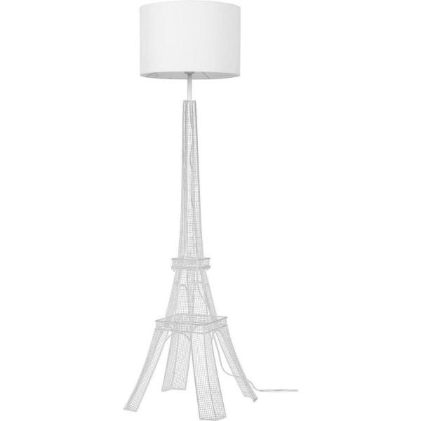 Stehlampe Eiffelturm 140cm Weiss Lampe mit Schirm Bodenlampe