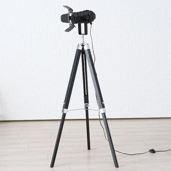 Stativleuchte Stehlampe Stativlampe Stehleuchte H145cm schwarz Studio Set Holz Stativ Lampe Teleskop