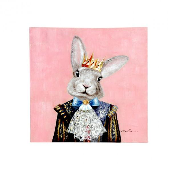 Edles Wandbild Prinz Hase 60cm Bild Häschen Rosa Acryl handgemalt Holzrahmen