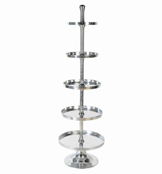 Casablanca XL Etagere Grande 170cm Höhe vernickelt Silber Gebäckschale