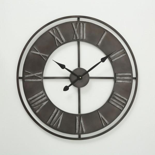 Große Wanduhr Duro D78cm Metall Matt Schwarz Dunkel Grau Vintage Uhr Neu