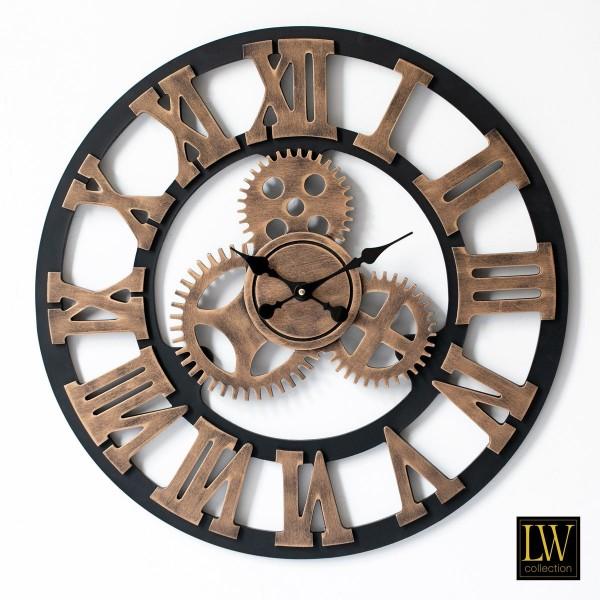 Wanduhr Industrie Holz 60cm Braun Zahnräder Uhr Wand Industry