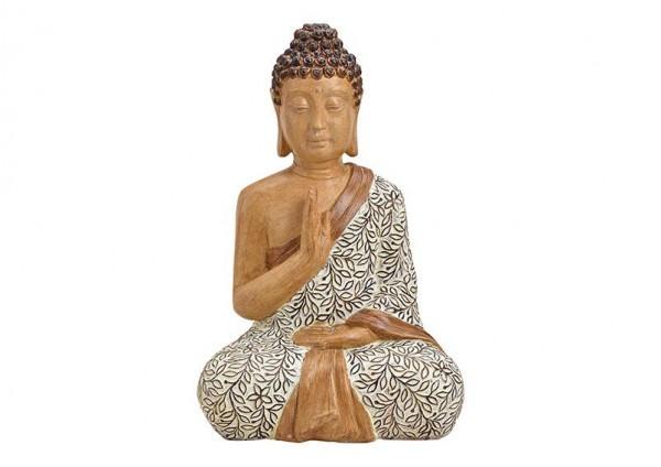 Edler Buddha 50cm Braun Beige Holzoptik Figur Modell Mönch Holz Statue