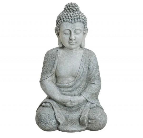 Edler XL Buddha 50cm Grau Marmor Optik Figur Modell Mönch Buddhafigur Statue