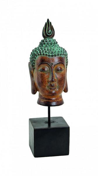Edler Buddhakopf auf Sockel 43cm Braun Magnesia auf Stand Figur Buddha
