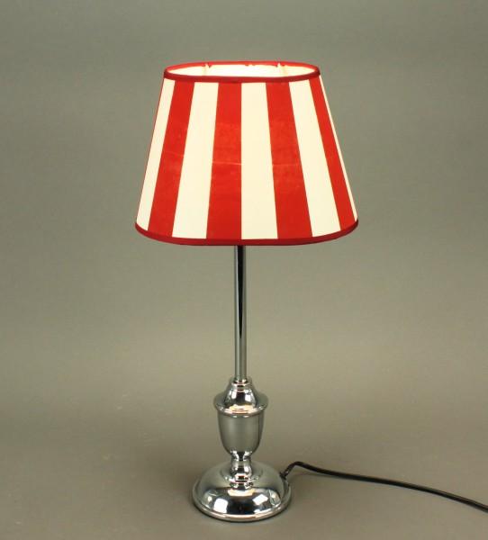 Tischlampe Silber Lucie 49cm Schirm Rot Weiß Tischleuchte Stehleuchte