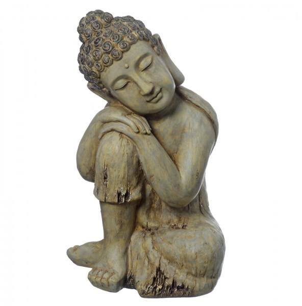 BUDDHA SKULPTUR SITZEND 47cm HÖHE IN HOLZ-OPTIK STATUE FIGUR MODELL