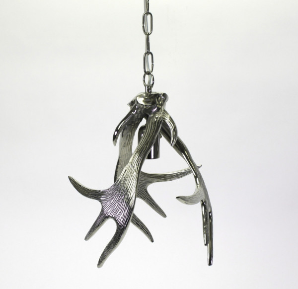 Geniale Deckenlampe Geweih 26x34cm Kronleuchter Ast Baum Silber Metall
