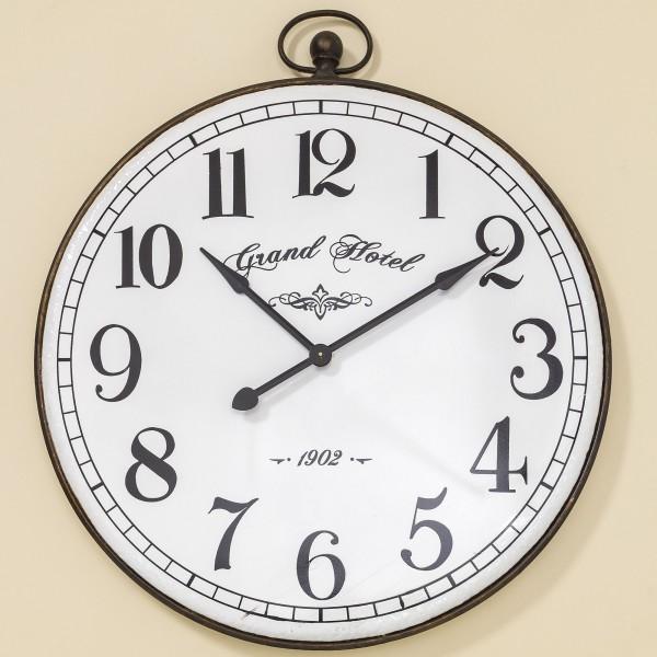 XXL Wanduhr Colonia D92cm Eisen Metall Schwarz Weiß Uhr Neu