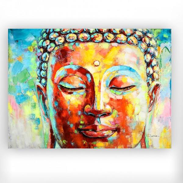 XL Casablanca Wandbild Buddha hochglänzend 120cm Bild Mönch bunt Holzrahmen