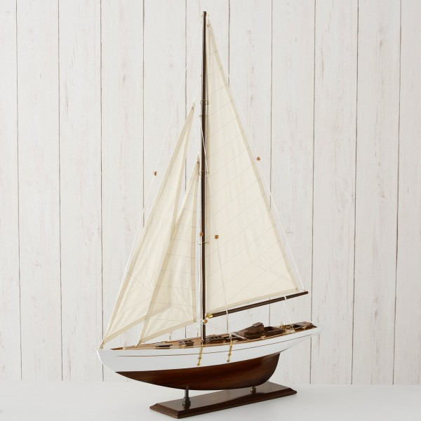 Edles XL Segelboot Modell Endeavour 85cm Braun Beige Boot Holz Schiff Stoff