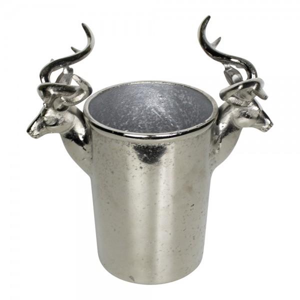 Edler Weinkühler 28cm Silber Geweih Hirsch Sektkühler Flaschenkühler Metall