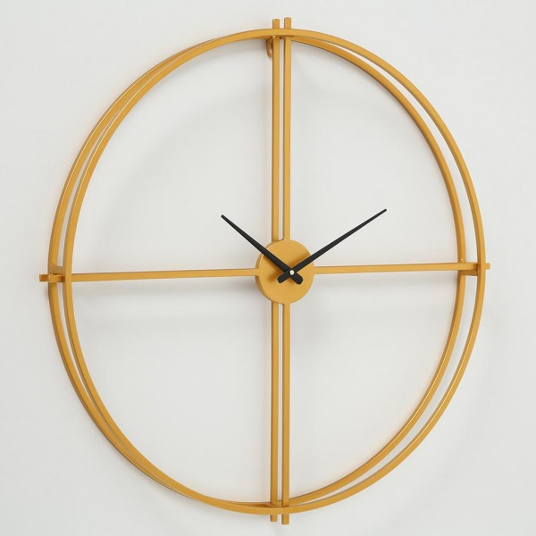 Große ausgefallene Wanduhr Greenwich D70cm Eisen Metall Gold Puristisch Uhr