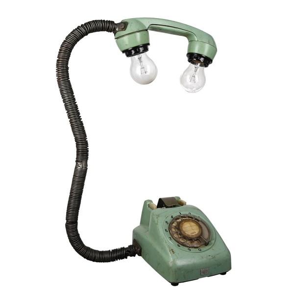 Geniale Tischlampe Old Phone Grün Casablanca Telefon Lampe Tischleuchte