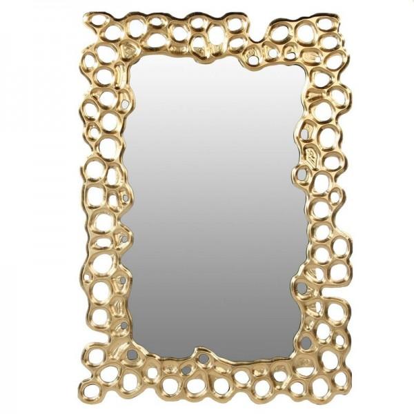 Edler Casablanca Wandspiegel Bubble 100x70cm Gold Spiegel Blasen Löcher Rahmen